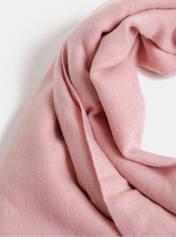 Růžová šála s příměsí vlny Pieces Jira