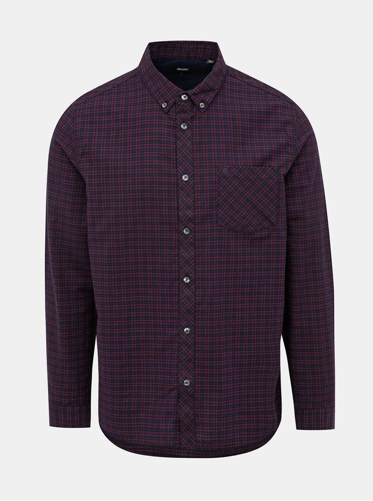 Modrá-vínová kostkovaná košile Burton Menswear London