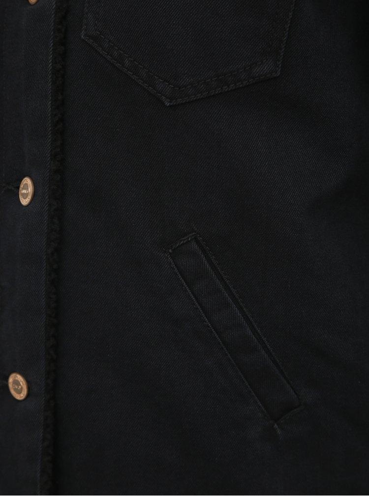 Černá džínová bunda s umělým kožíškem ONLY Billy
