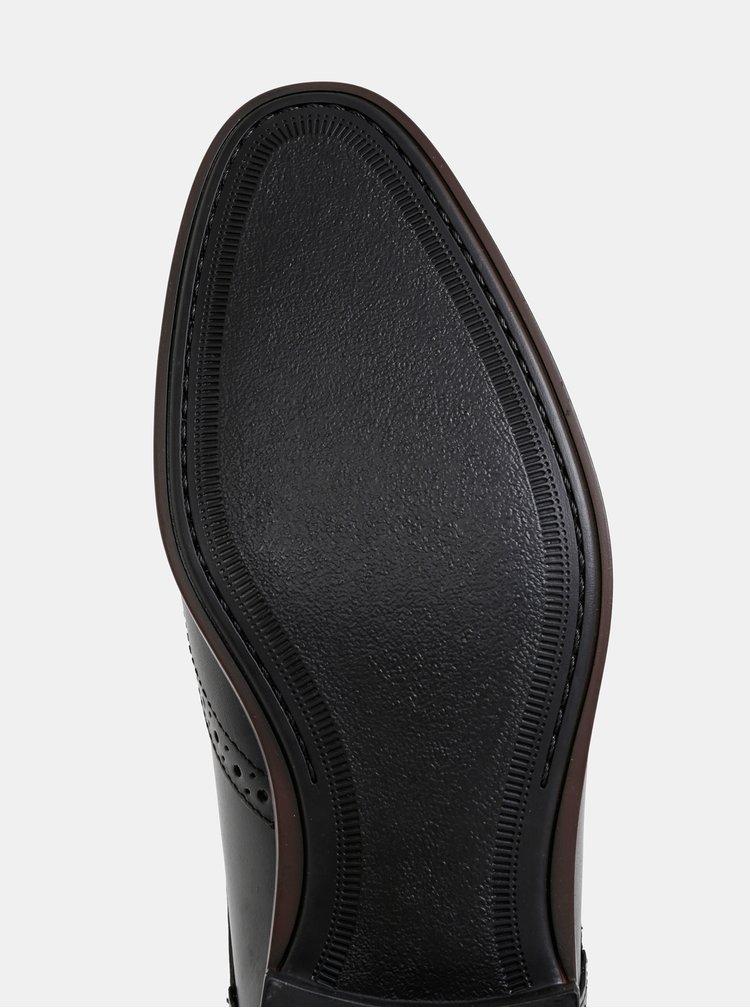 Čierne pánske kožené polobotky Burton Menswear London
