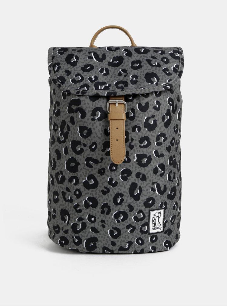 Šedý dámský batoh s leopardím vzorem The Pack Society