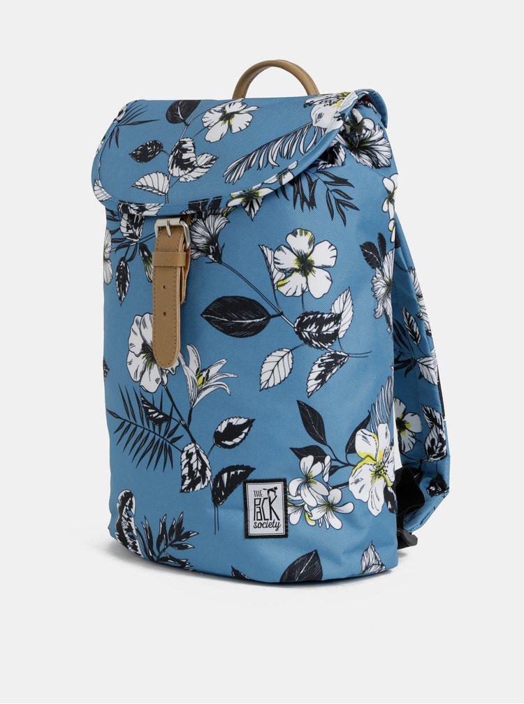Modrý dámský květovaný batoh The Pack Society 10 l