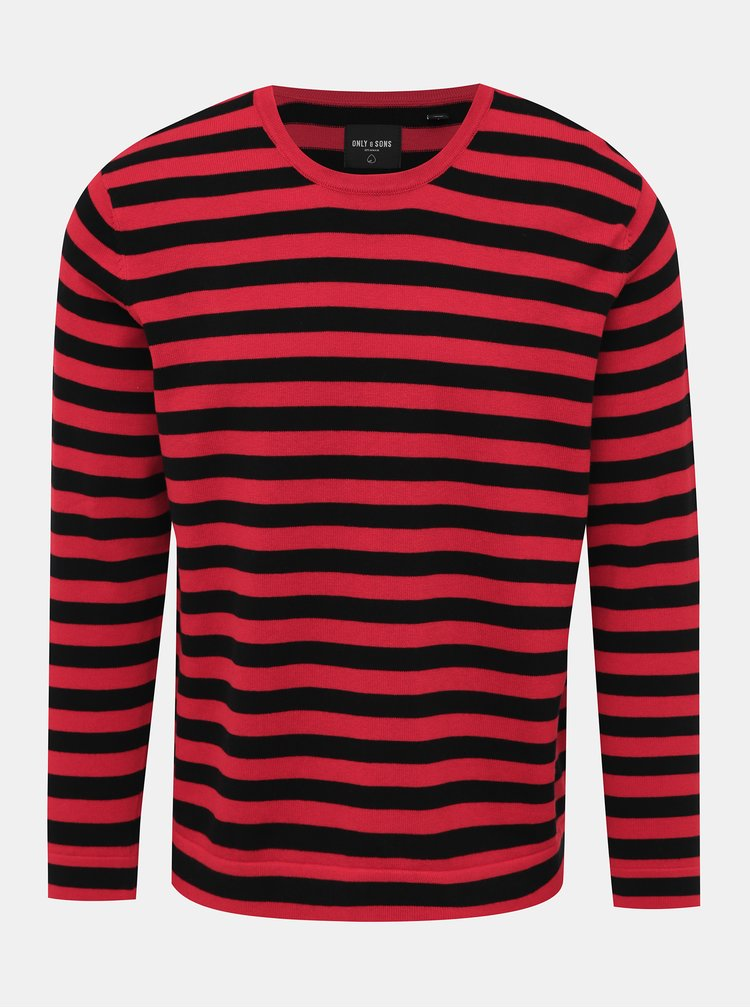 Čierno-červený pruhovaný sveter ONLY & SONS Salex