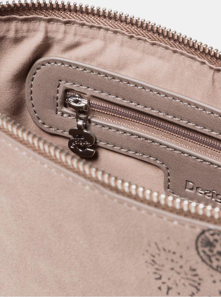 Hnedá vzorovaná crossbody kabelka v semišovej úprave Desigual 2Stones