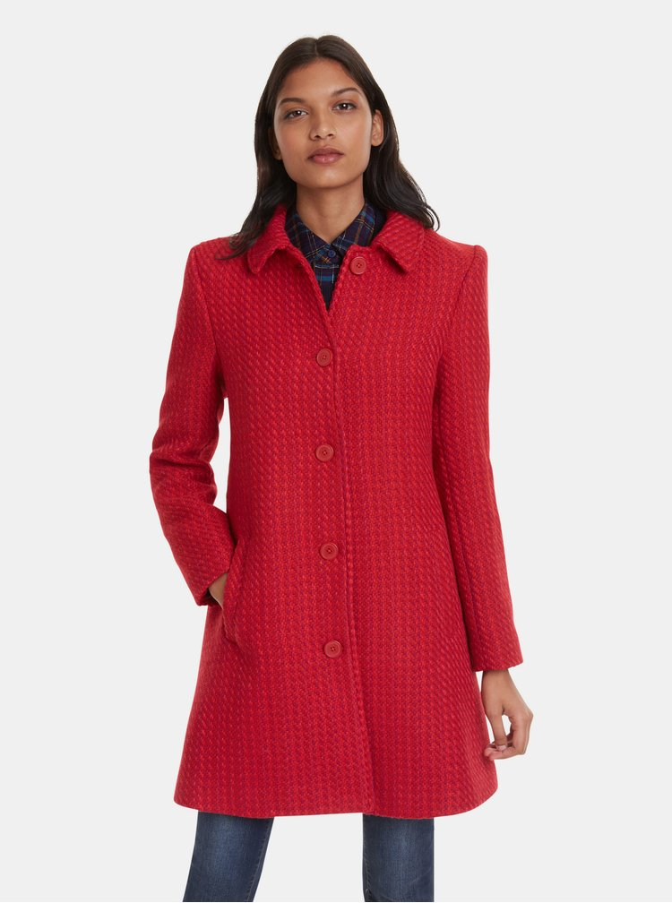 Červený vlněný kabát Desigual Noa