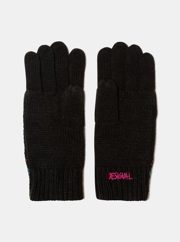 Černé vzorované rukavice Desigual Anubis