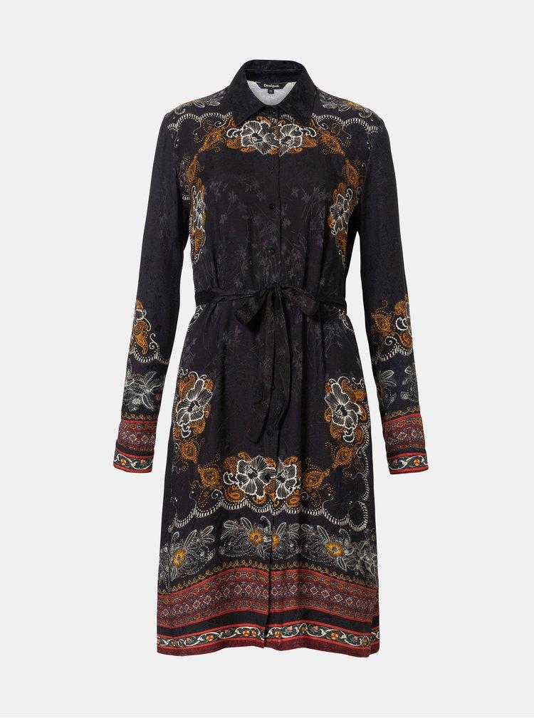 Černé vzorované košilové šaty Desigual Suam