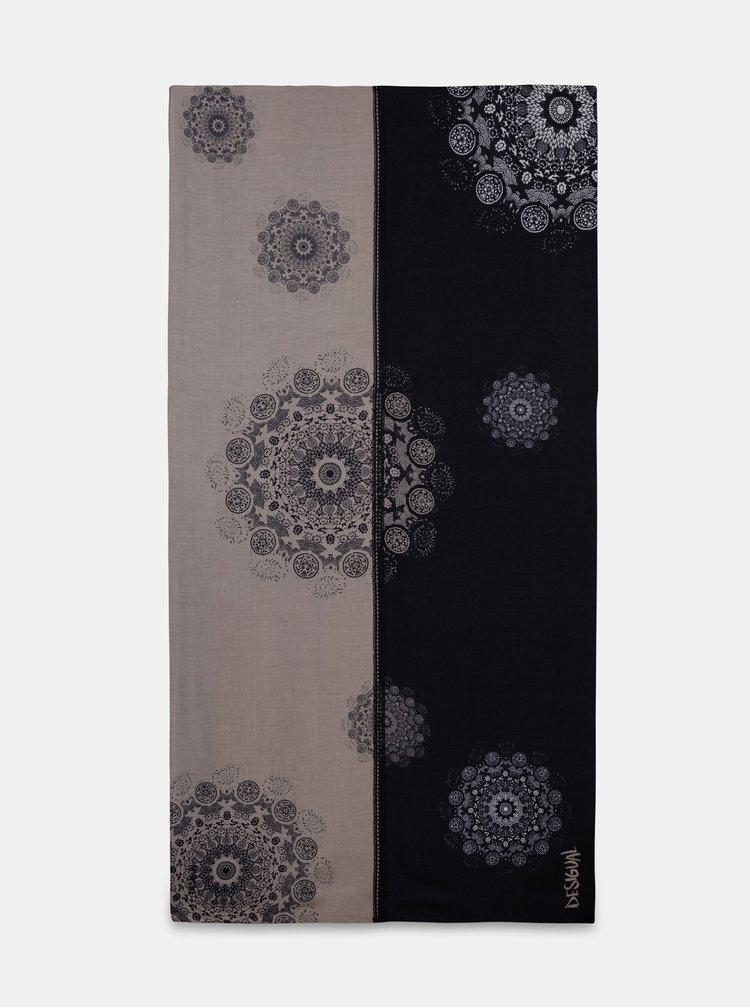 Šedo-modrá vzorovaná šatka Desigual Patch