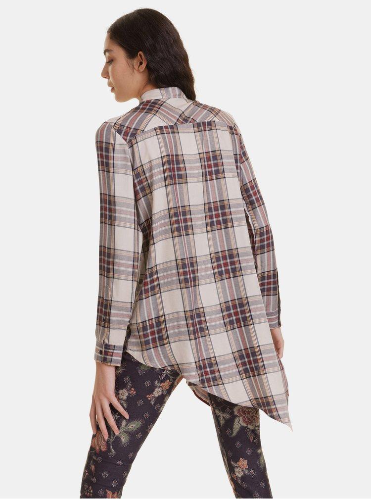 Béžová asymetrická kockovaná košeľa Desigual