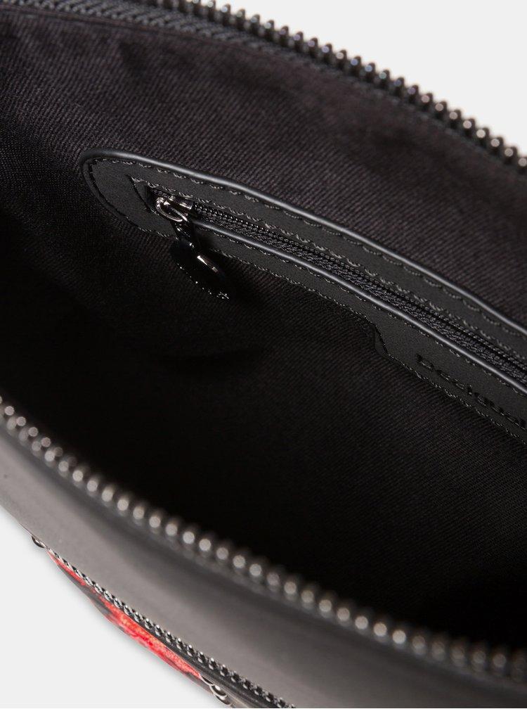 Čierna vzorovaná crossbody kabelka s výšivkou Desigual Gemini Kaua