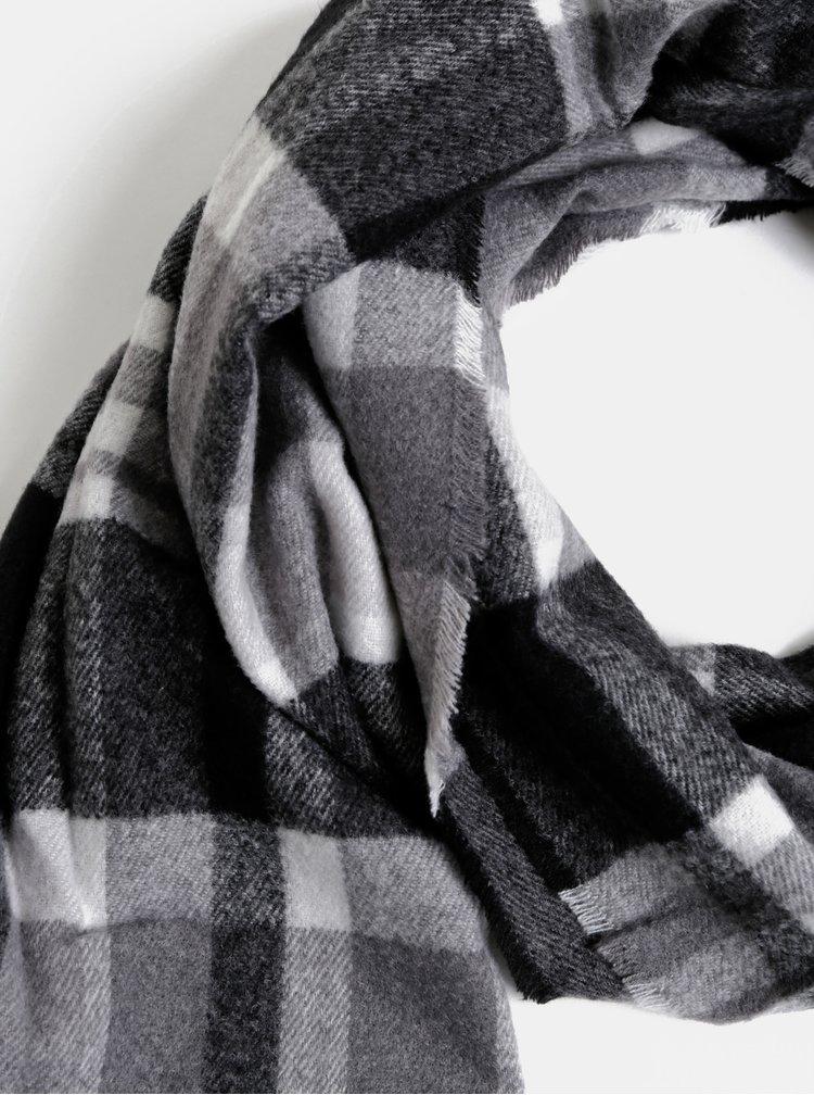 Čierno-šedý kockovaný šál Dorothy Perkins