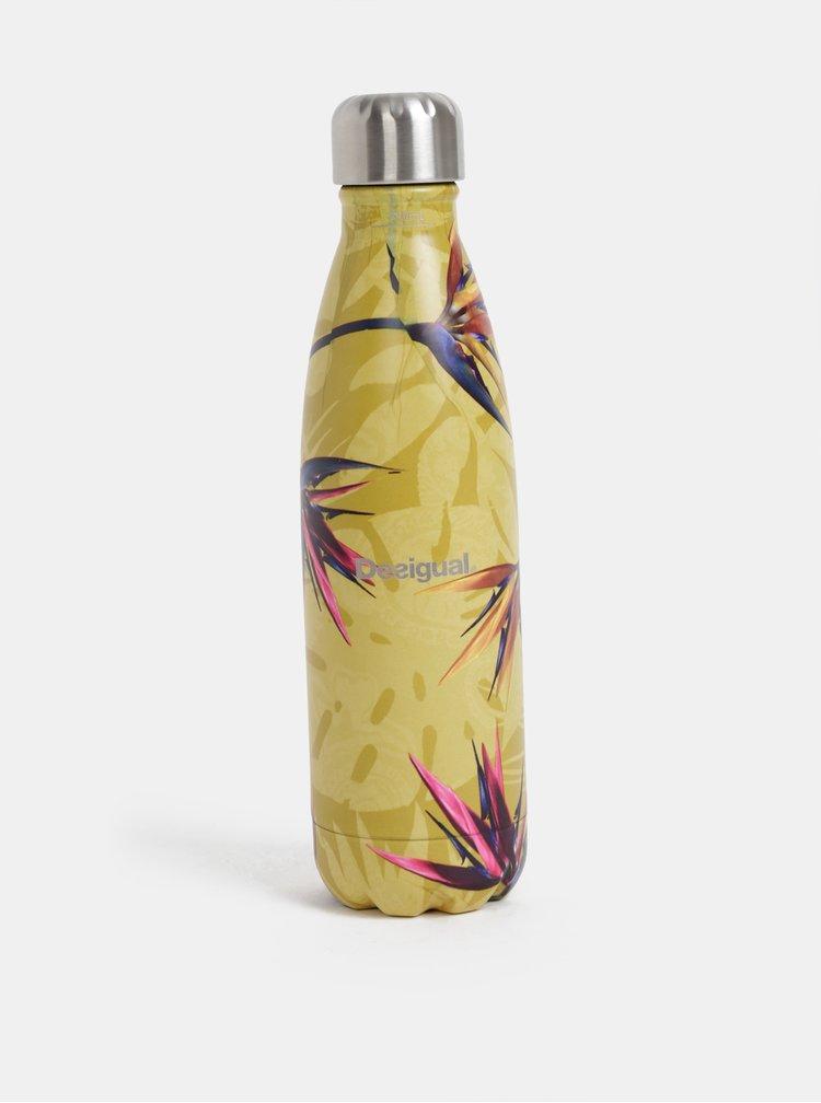 Žltá vzorovaná termo fľaška na nápoj Desigual 500 ml