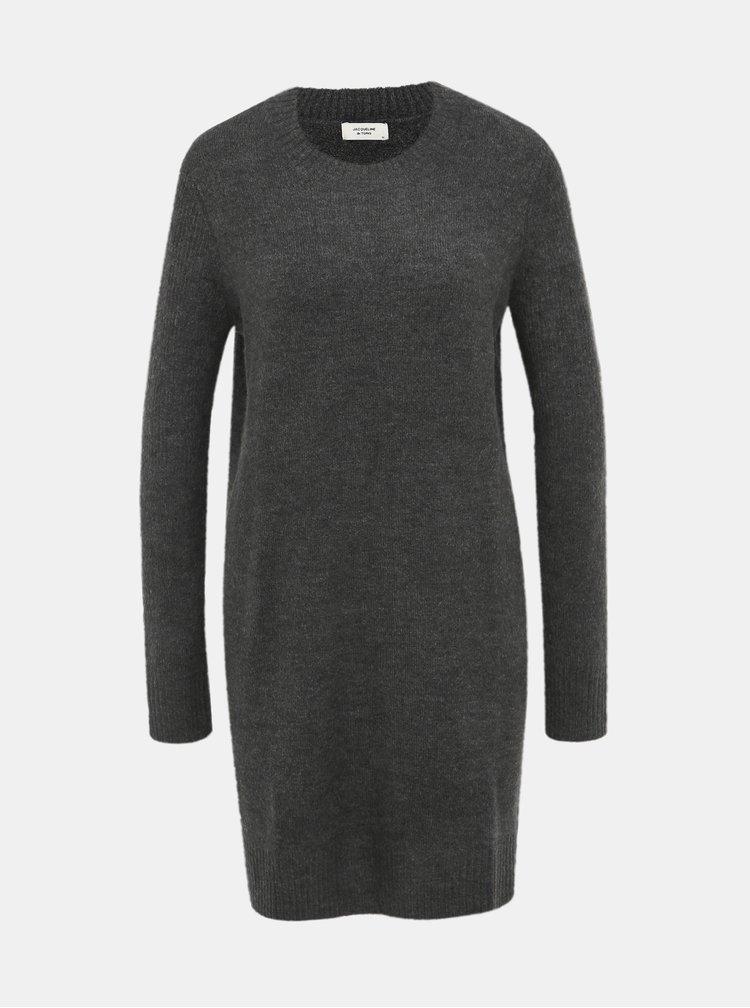 Tmavě šedé svetrové šaty Jacqueline de Yong Crea