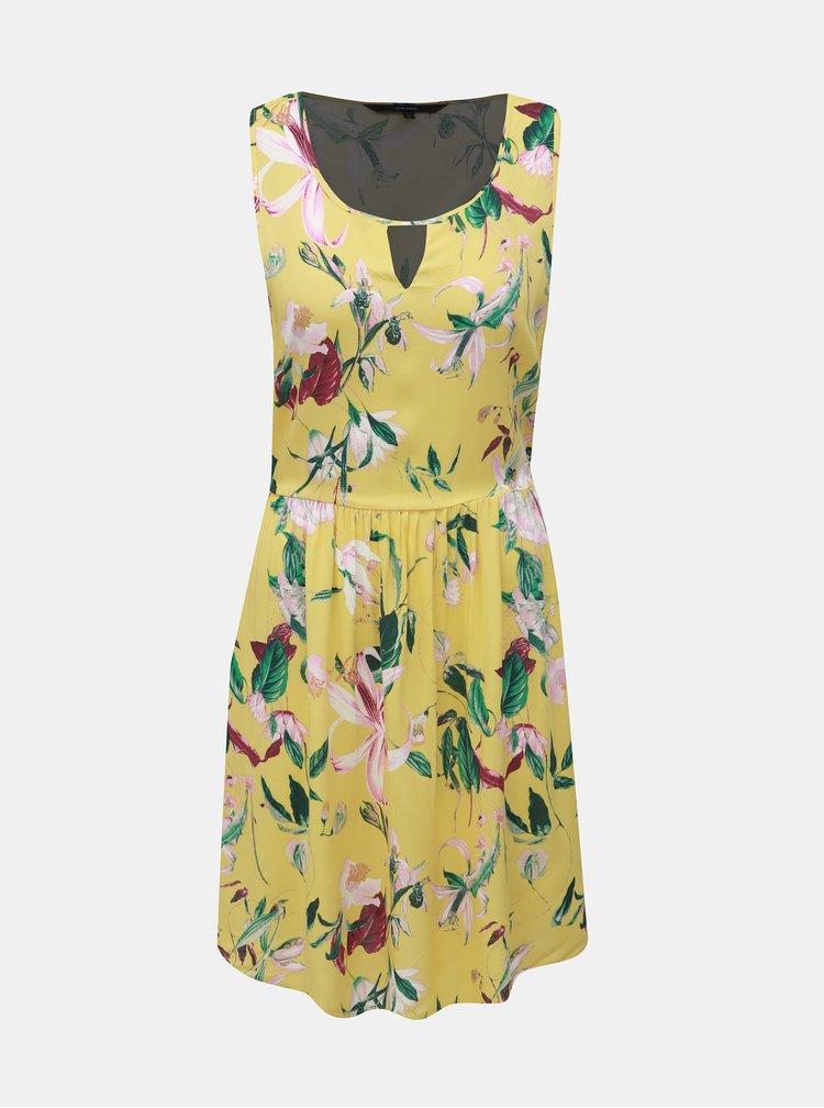 Žluté květované šaty VERO MODA Simply Easy