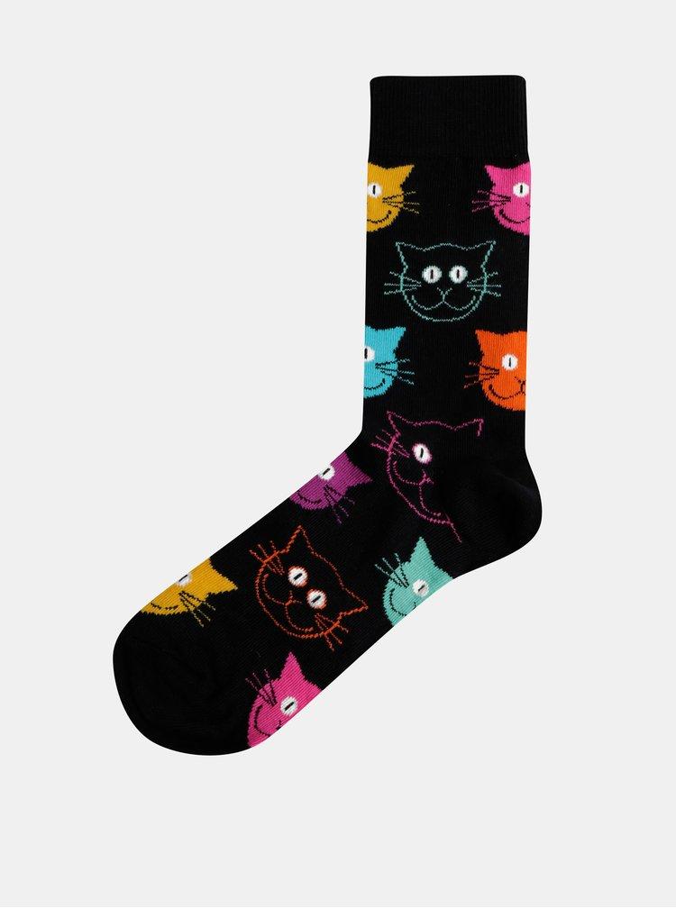 Čierne vzorované ponožky Happy Socks Cat