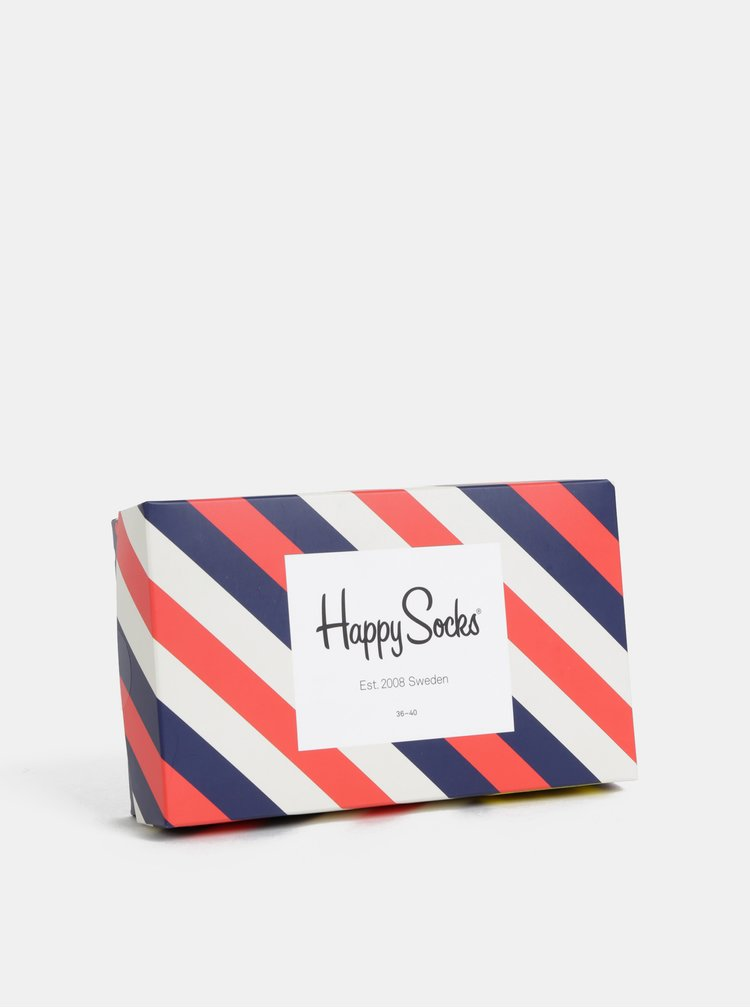 Sada tří párů tmavě modrých vzorovaných ponožek Happy Socks Stripe