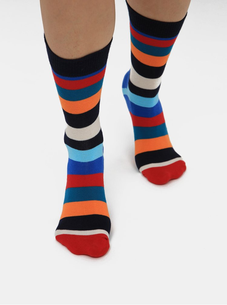 Sada troch párov tmavomodrých vzorovaných ponožiek Happy Socks Mix