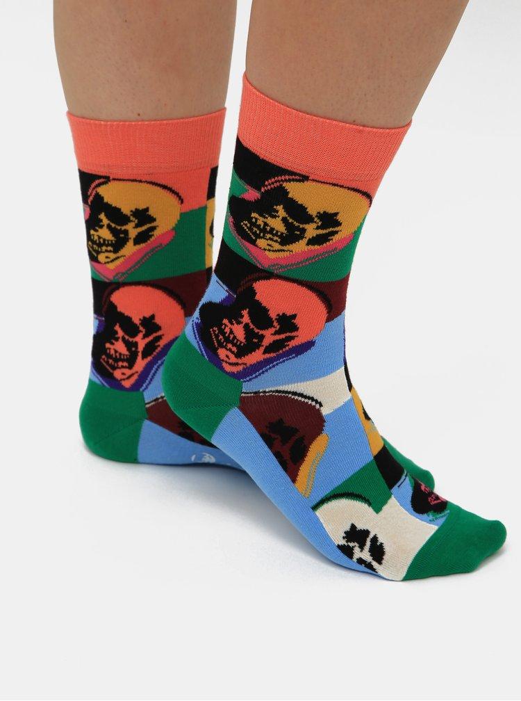 Sada troch párov modrých vzorovaných ponožiek Happy Socks Andy Warhol