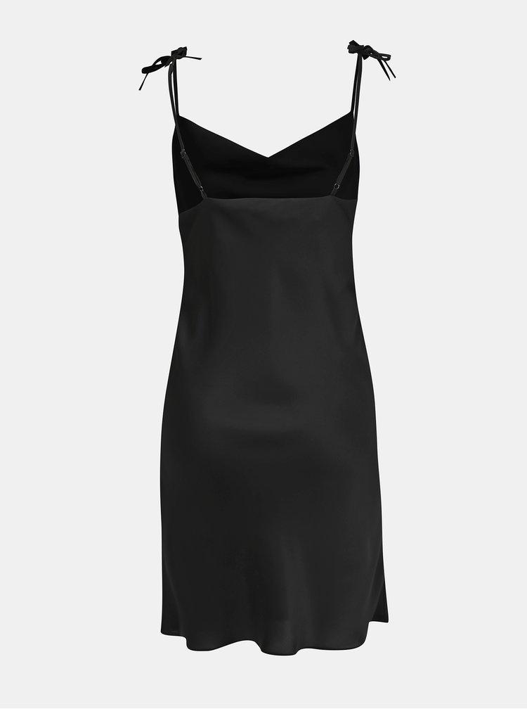 Čierne šaty na ramienka Miss Selfridge