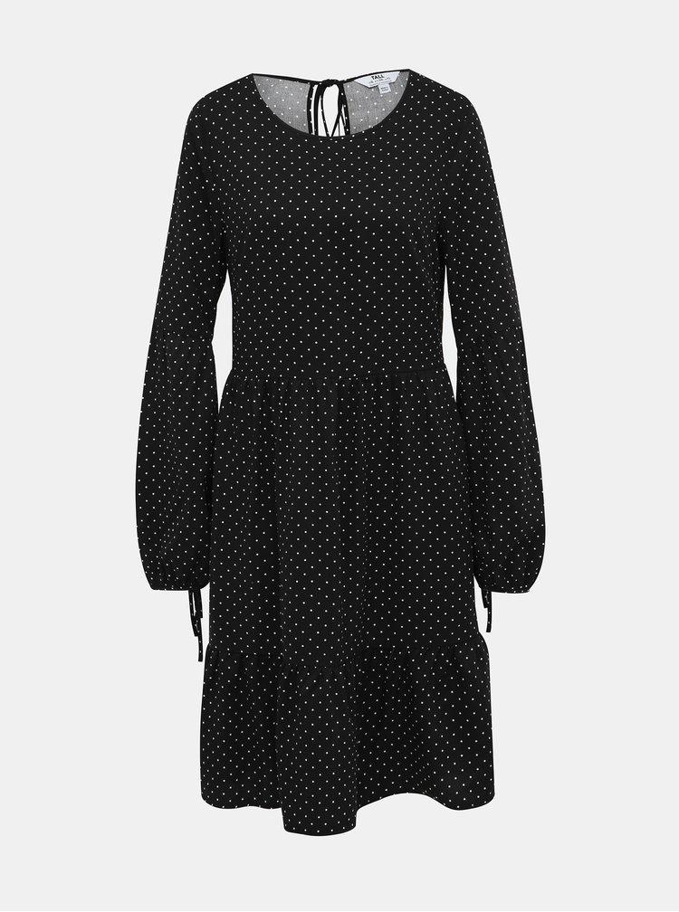 Čierne bodkované šaty s balónovými rukávmi Dorothy Perkins Tall