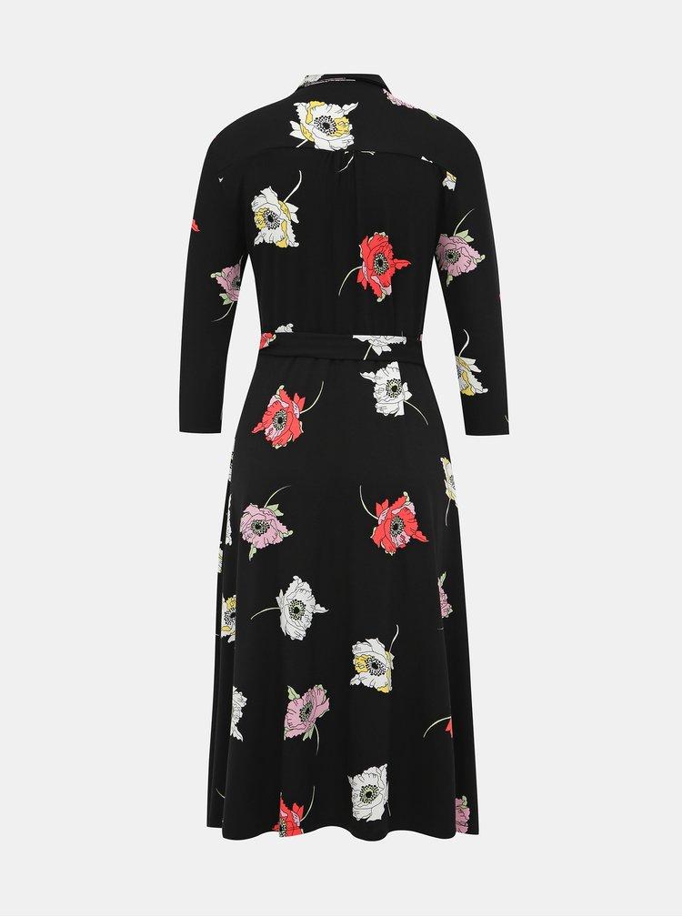 Černé košilové květované midišaty Dorothy Perkins