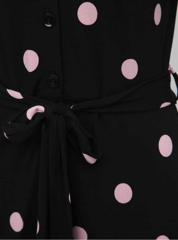 Černé košilové puntíkované midišaty Dorothy Perkins