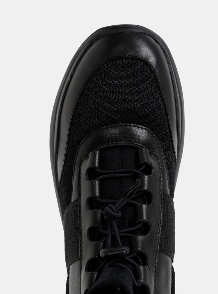 Čierne dámske kožené členkové tenisky Vagabond Lexy