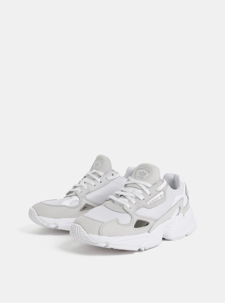 Šedo-biele tenisky s koženými detailmi adidas Originals Falcon