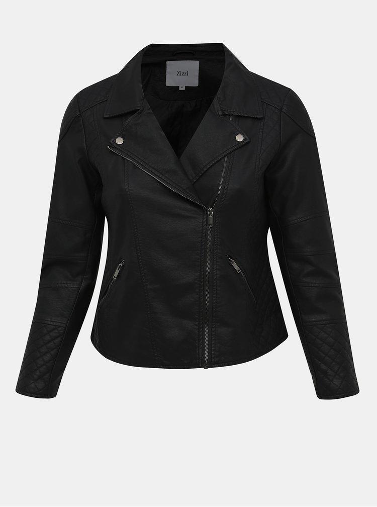 Čierna koženková bunda Zizzi Pawa