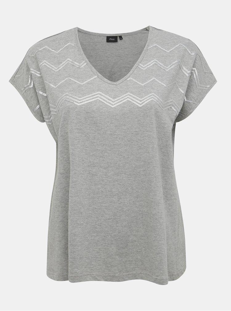 Šedé tričko s flitry Zizzi Jolie