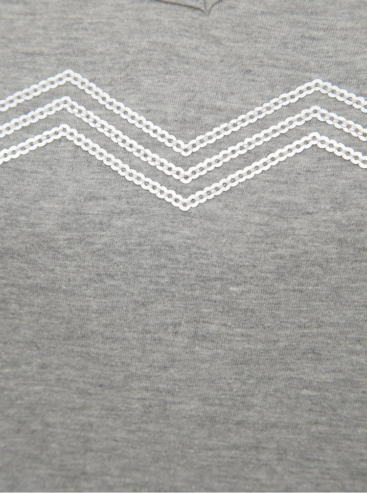 Šedé tričko s flitrami Zizzi Jolie