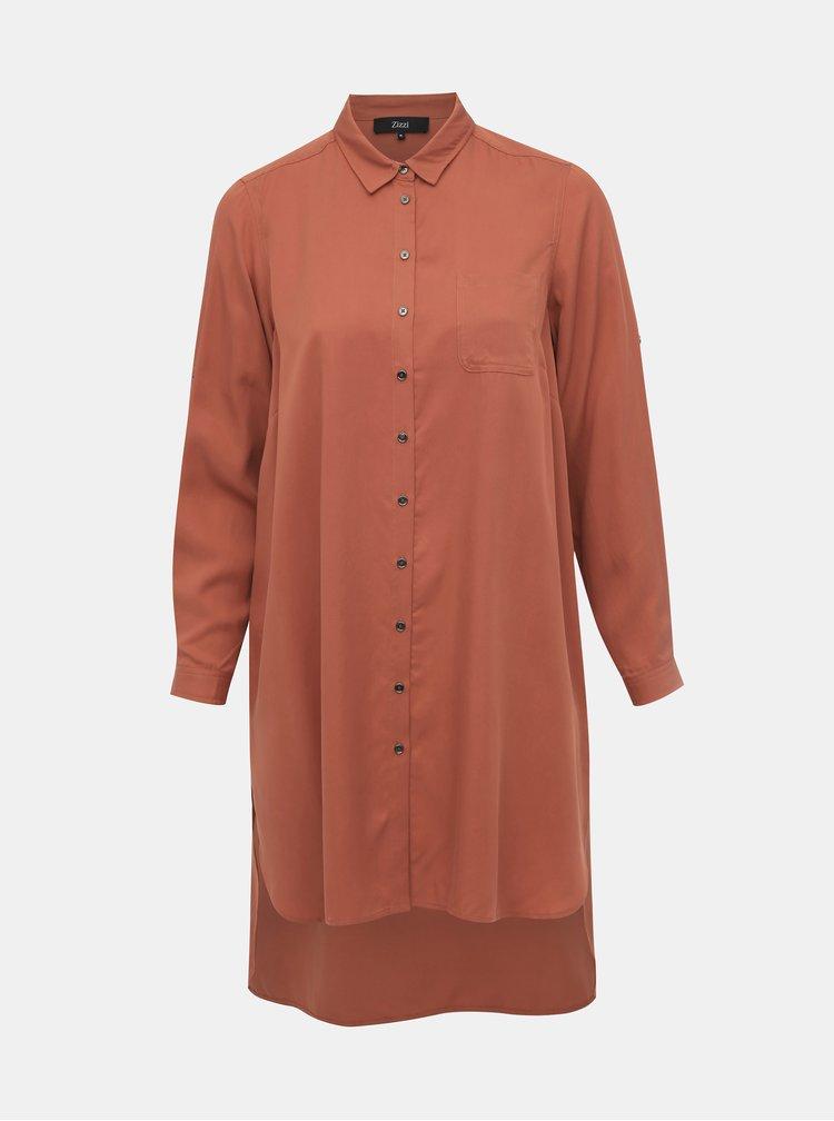 Cihlové košilové šaty Zizzi Jacacia