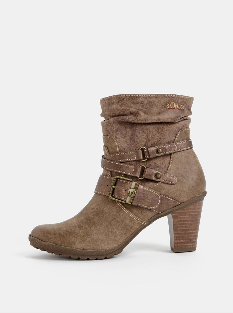 Světle hnědé dámské kotníkové boty s.Oliver