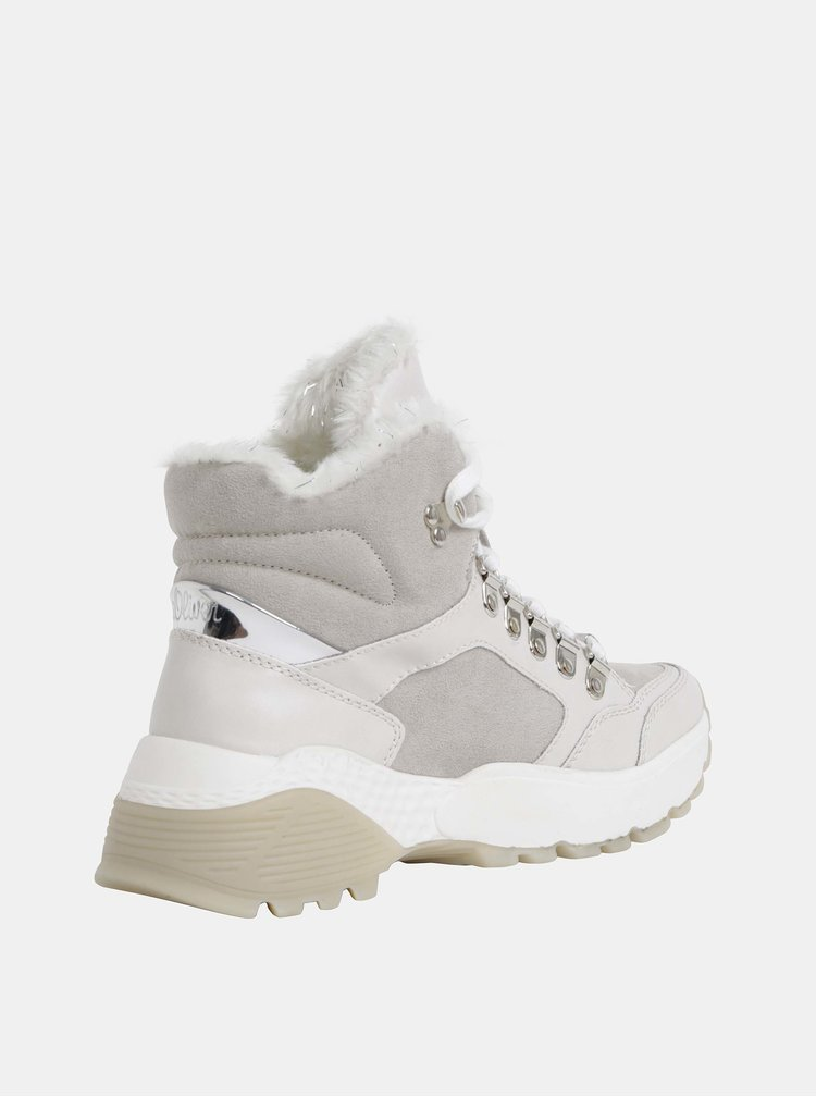 Svetlošedé dámske kotníkové zimné topánky v semišovej úprave s.Oliver
