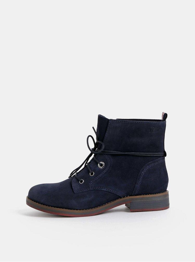 Tmavě modré dámské semišové kotníkové boty s.Oliver