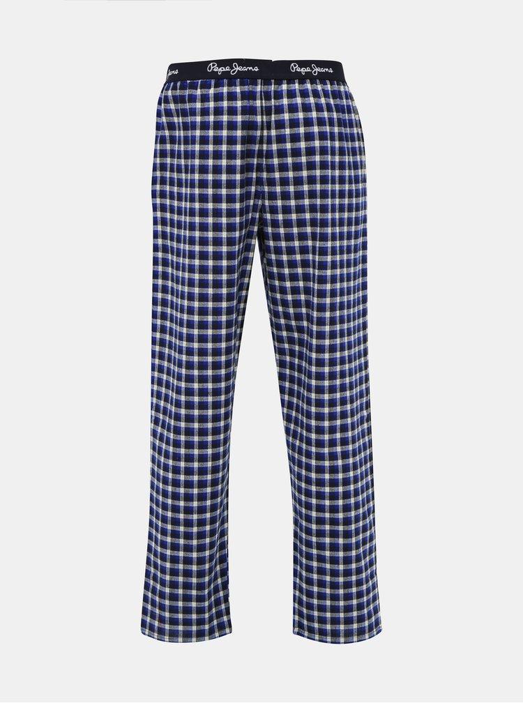 Modré pánske kockované pyžamové nohavice Pepe Jeans Kyle