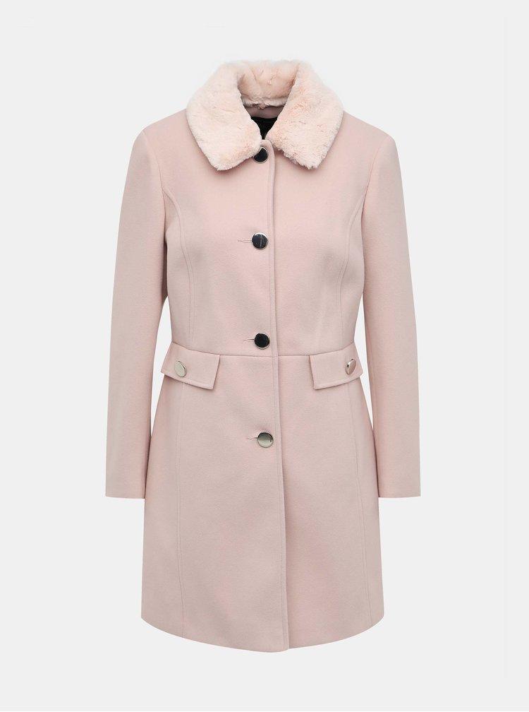 Svetloružový kabát s odnímatelným umelým kožúškom Dorothy Perkins