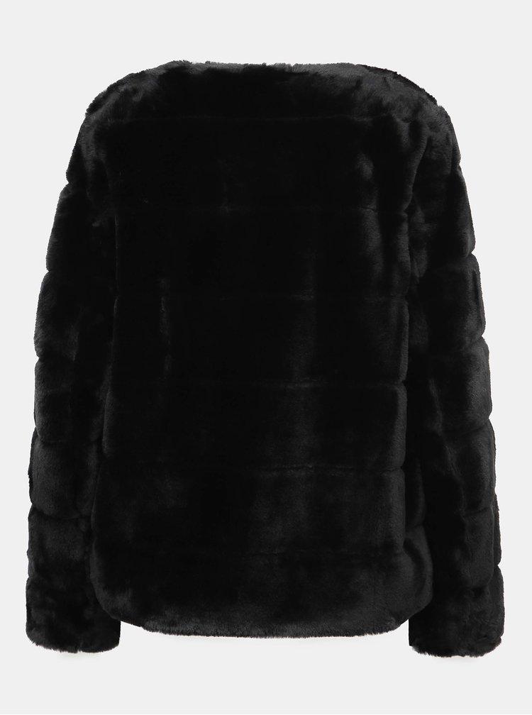 Černý krátký kabát z umělé kožešiny Dorothy Perkins