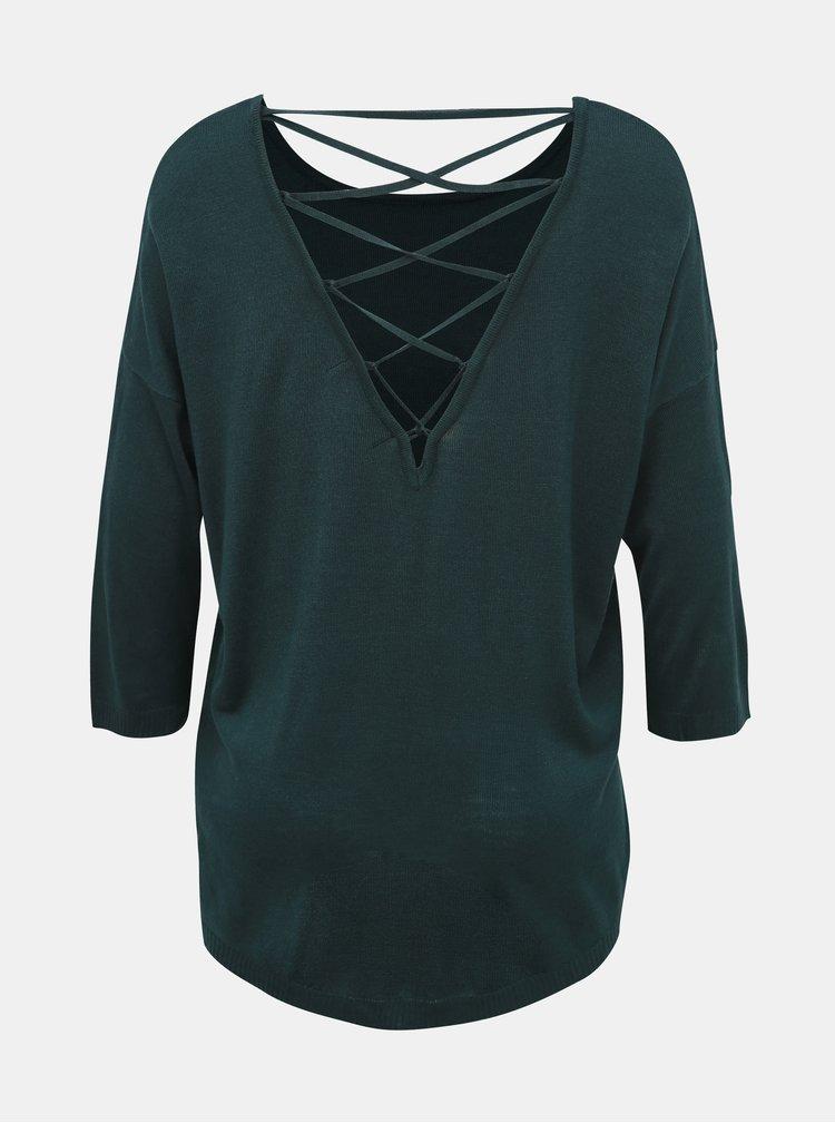 Tmavě zelený lehký svetr VERO MODA Raini