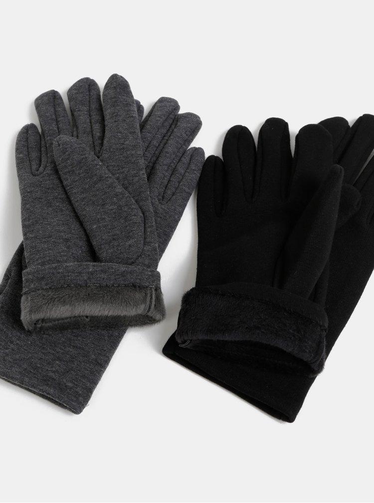 Sada dvou párů rukavic v černé a šedé barvě Dorothy Perkins
