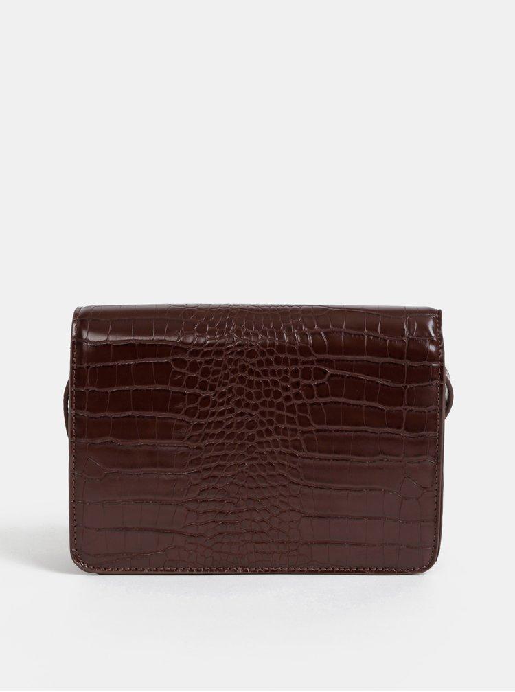 Tmavě hnědá crossbody kabelka s krokodýlím vzorem Pieces Julie