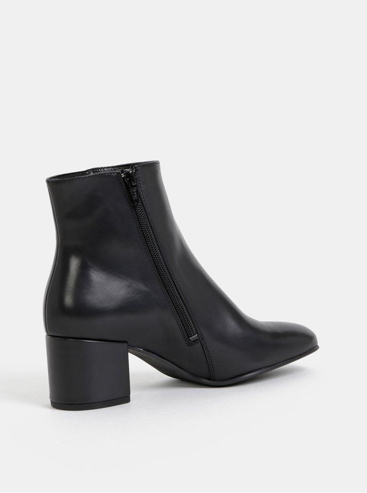 Čierne kožené členkové topánky Högl Polishcalf