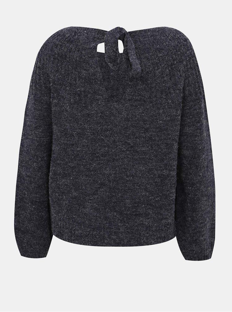 Tmavomodrý žíhaný sveter s priestrihom Jacqueline de Yong Olivia