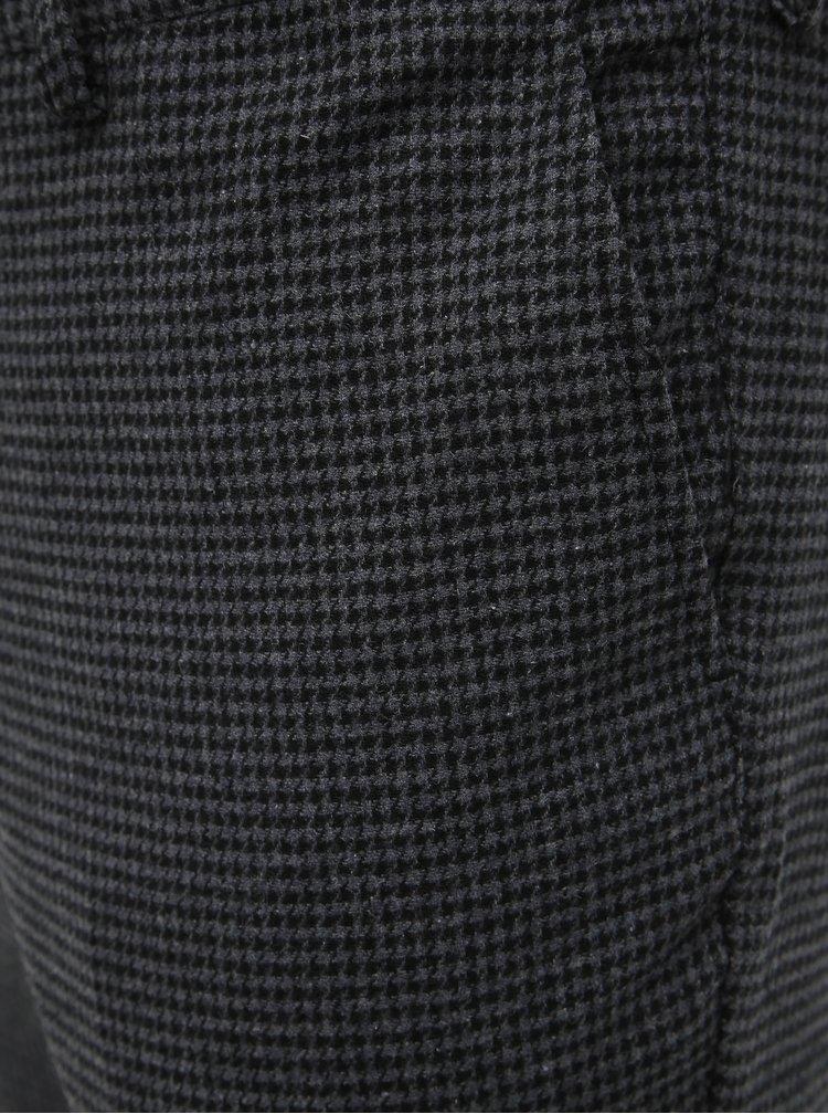 Šedé vzorované slim fit nohavice s prímesou vlny Selected Homme Fleet