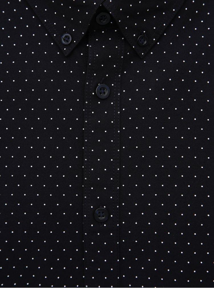 Tmavomodrá bodkovaná slim fit košeľa Selected Homme Kino