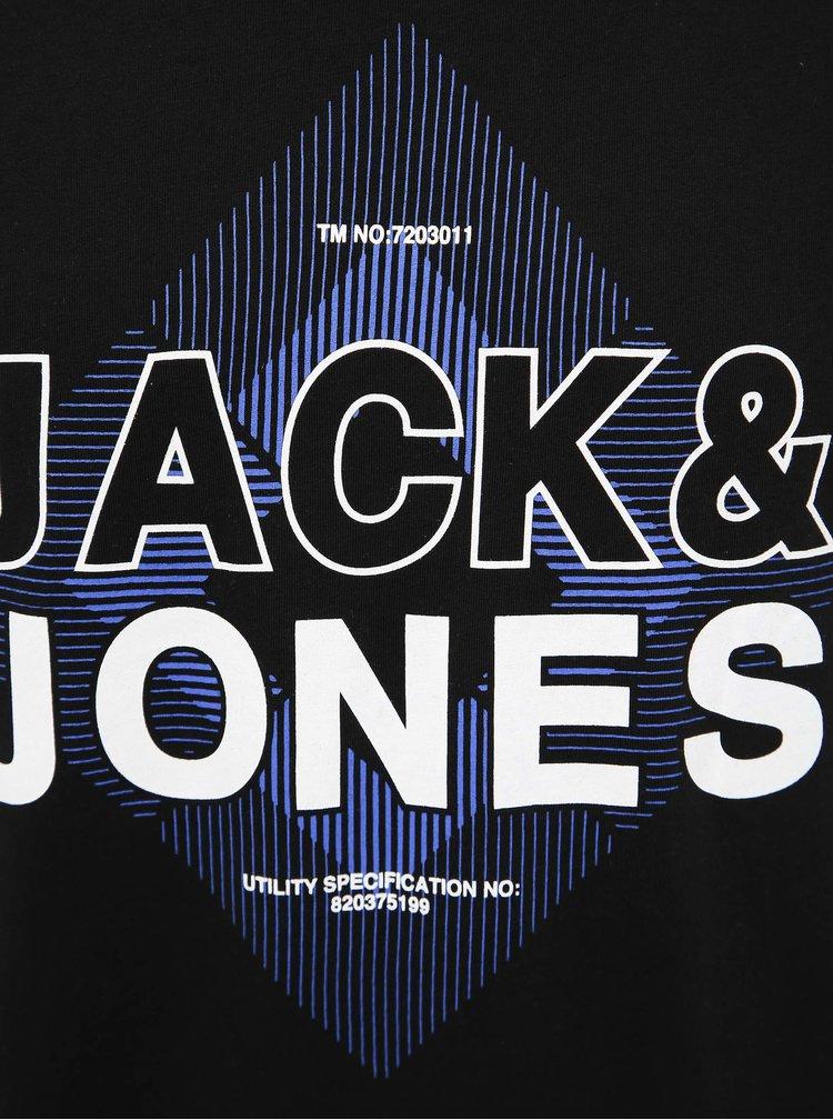 Čierne tričko s potlačou Jack & Jones Booster