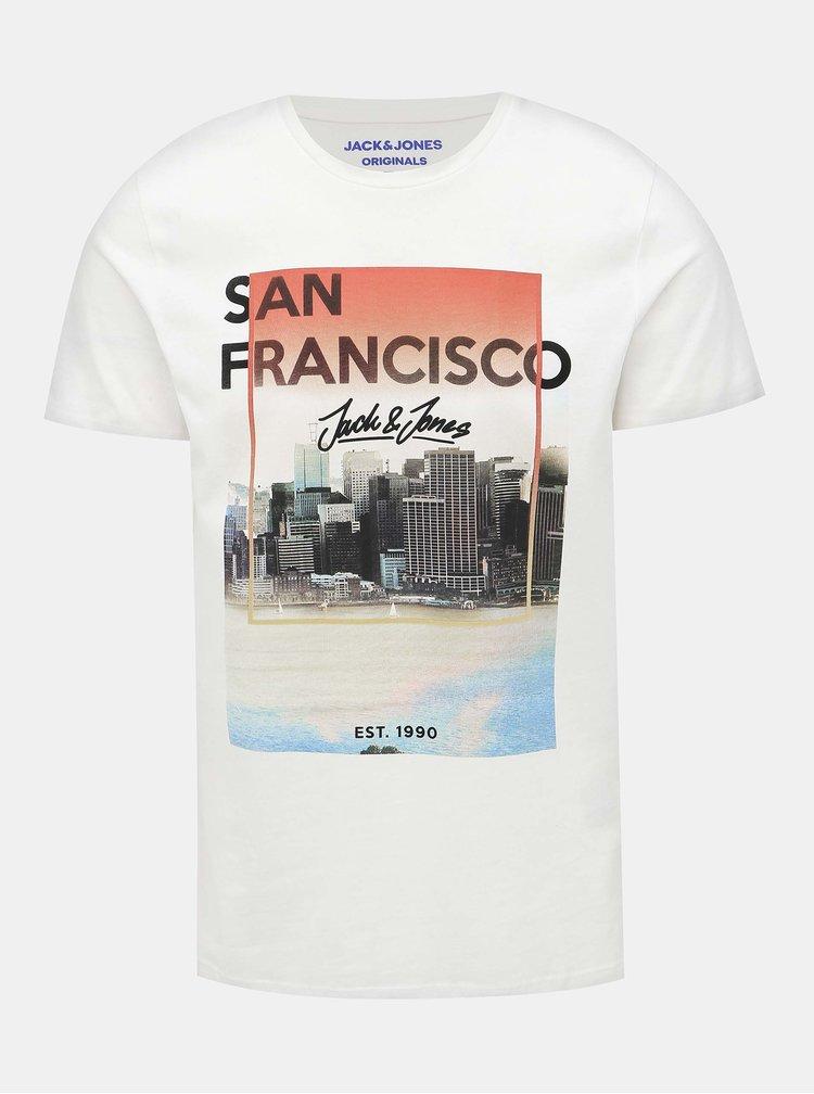 Bílé tričko s potiskem Jack & Jones Cool