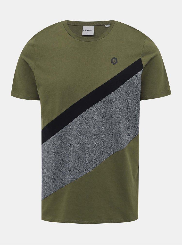 Khaki tričko Jack & Jones Cross