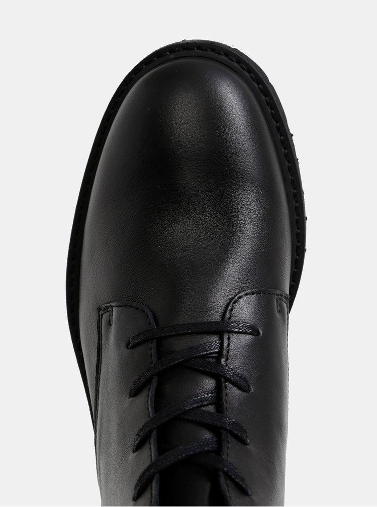 Čierne kožené členkové topánky Selected Homme Daniel