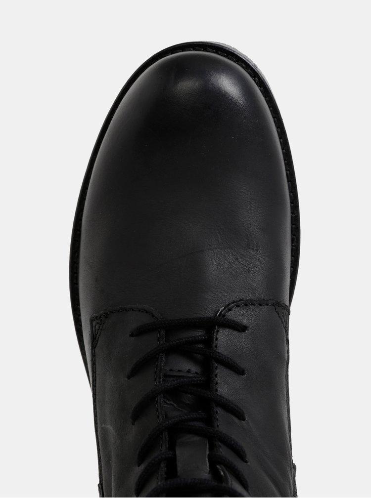 Čierne pánske kožené topánky Jack & Jones Worca
